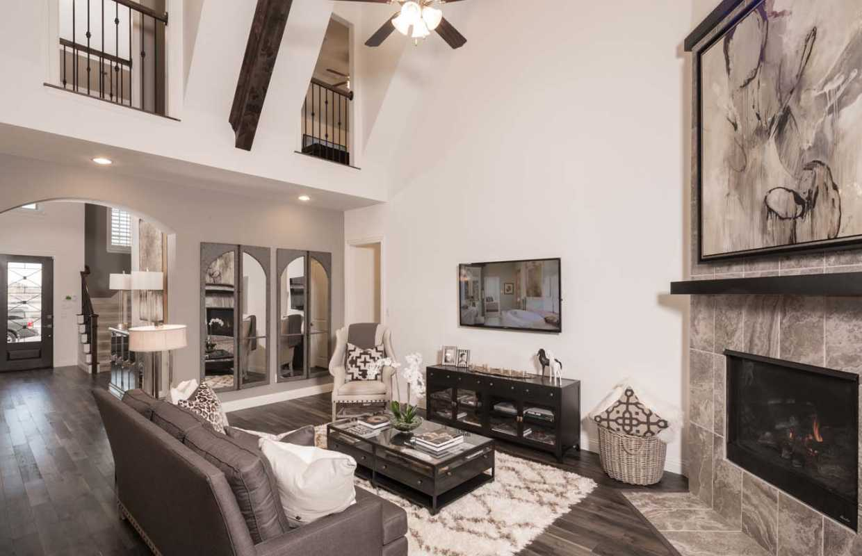 Highland Homes  Caption   family room. Model Home in Dallas   Fort Worth Texas  Prairie View community