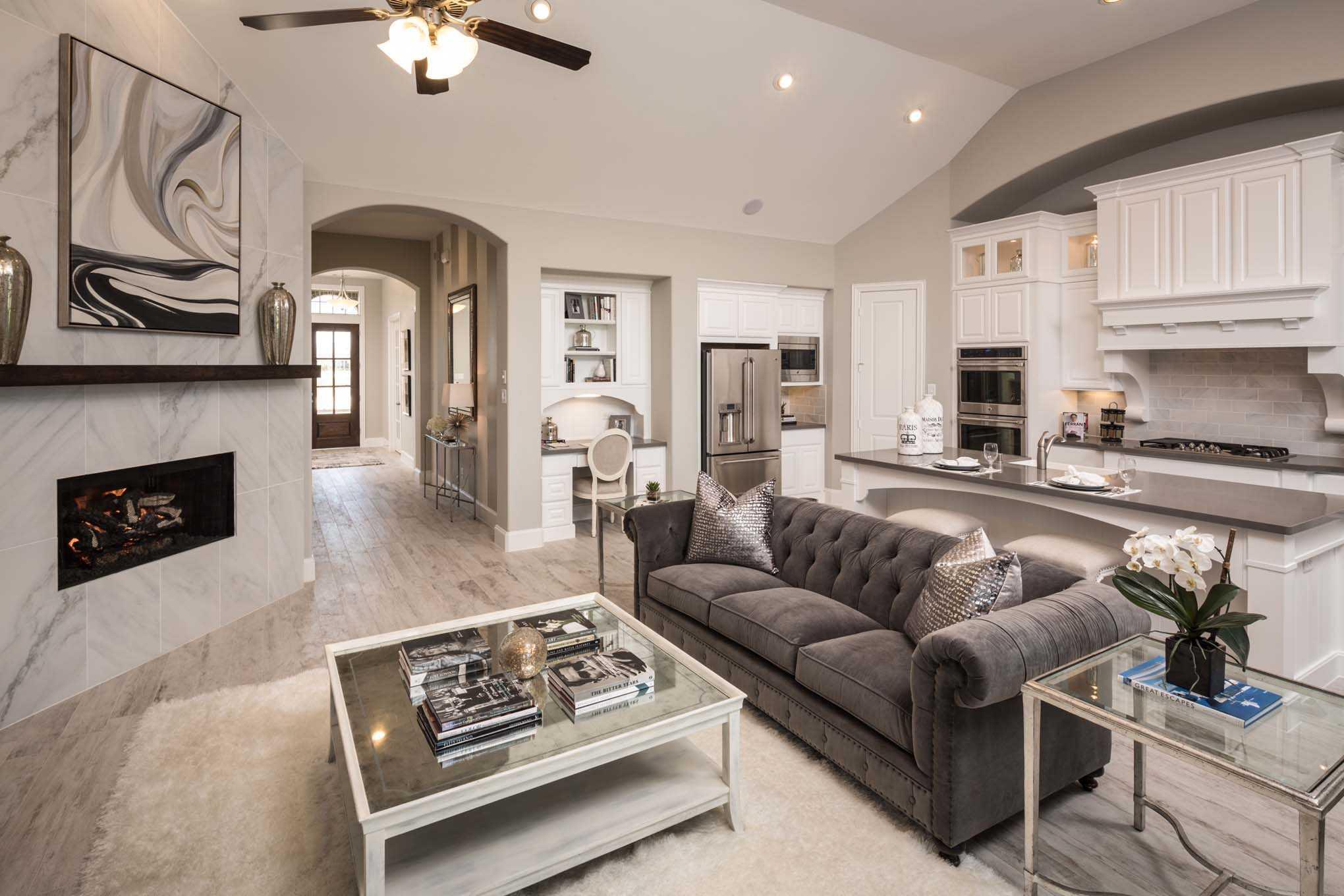 Representative Photo   family room. Model Home in Houston Texas  Cinco Ranch 70s community